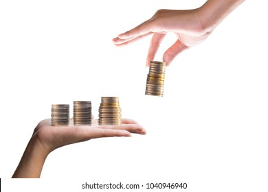 Coins on Hand and Handle Financial Ideas, Investment Business, Savings   Financial Literacy The business is profitable.