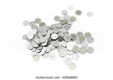 Coins on white background,Donation Investment Fund Financial Support Charity  Dividend Market Growth Home Stock Trust Wealthy Giving Planned Accounting Collection Debt Banking ROI concept