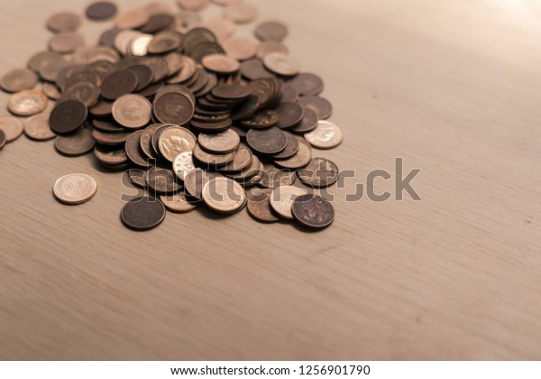 Coins On Wood Background Money Photo Stock Photo (Edit Now) 1256901790