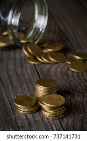 coins on wooden tables on stack