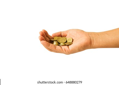 coins in the palm of hands isolated on white background