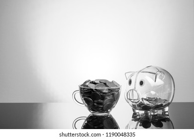 Coins and piggy bank with black and white view