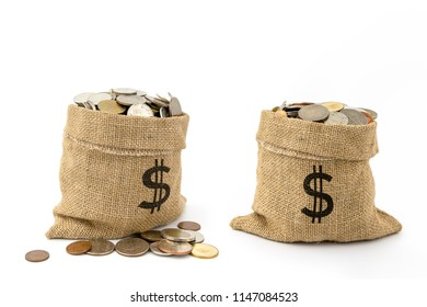 Coins in sack bag on white background .Saving money for business and financial concept.Save for retirement planning.