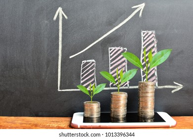 coins saving growth up increase to profit and interest on phone for concept investment fund finance and business
