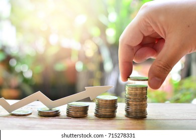 coins saving increase to profit for concept investment fund finance and business