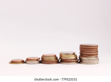 Coins for saving on white backgroind