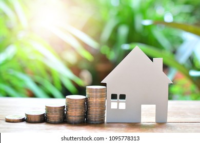 coins saving set increase with house model for concept investment mortgage fund finance and home loan, insurance