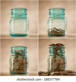 Coins in savings jar being filled, collage