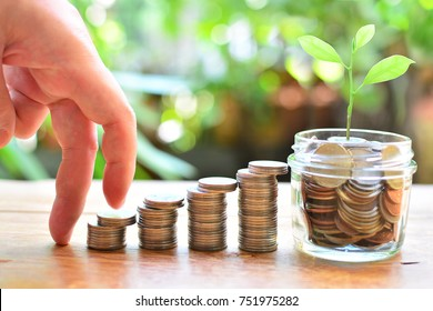 coins setting up stairs to profit interest concept investment fund finance and business