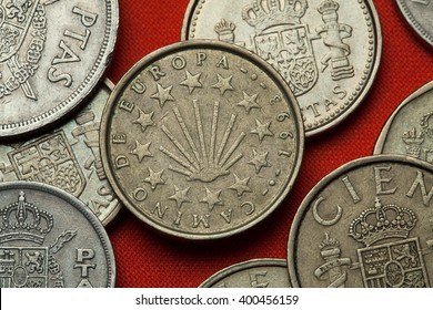 Coins of Spain. Scallop shell symbol for the pilgrimage routes Camino de Santiago depicted in the Spanish 100 peseta coin (1993).
