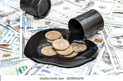 Coins in spilled crude oil on background of dollar bills. Business concept.