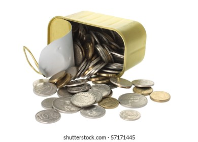 Coins Spilling Out of Tin Can on White Background