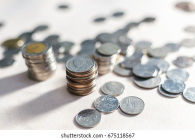 The coins to stack of coins, Saving money for retirement planning. Money, Financial, Business Growth concept.