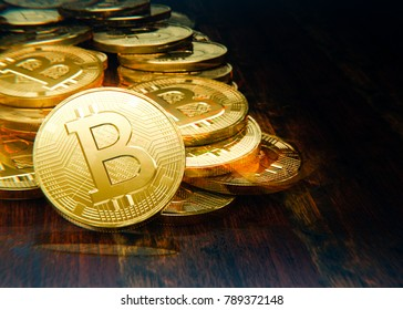Coins stack, transaction with bitcoins scattered on table, 3D illustration