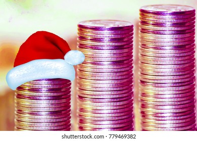 Coins stacked in bars. . The concept of new year's discounts and sales .