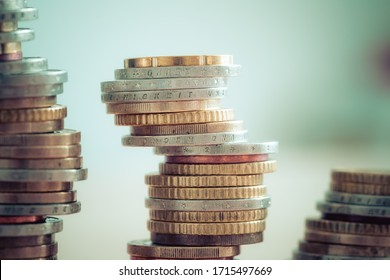 Coins stacked on each other, close up picture, market crisis and fragile market