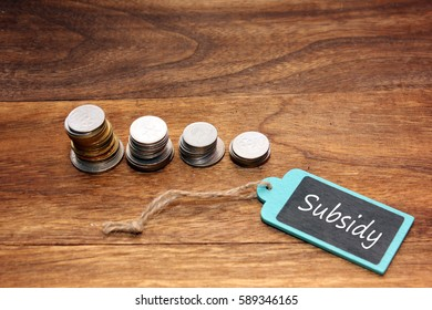 coins stacked and subsidy written on the blackboard.