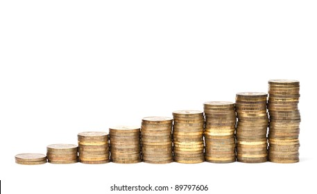 Coins stacks on white background in a row