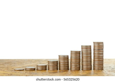 Coins stacks on wood background