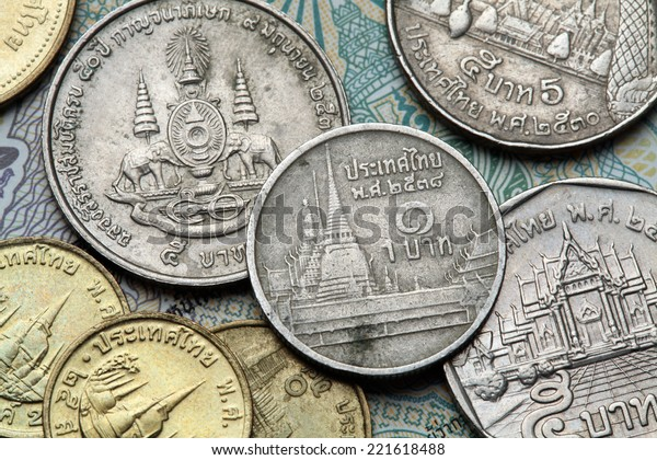 Coins of Thailand. Wat Phra Kaew or the Temple of the Emerald Buddha in Bangkok, Thailand, depicted in the Thai one baht coin.