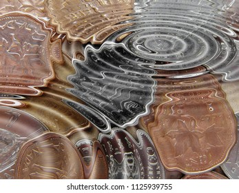 Coins underwater in a water pond with waves
