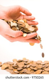 coins in woman's hands