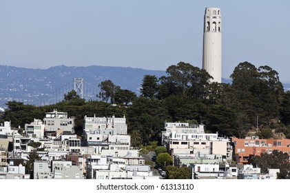 Coit Tower is a 210-foot (64 m) tower located in the Telegraph Hill neighborhood of San Francisco, California.
