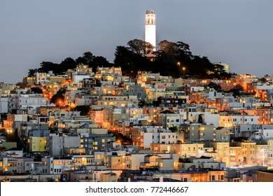 Coit Tower on Telegraph Hill as seen from Russian Hill at Dusk. San Francisco, California, USA.