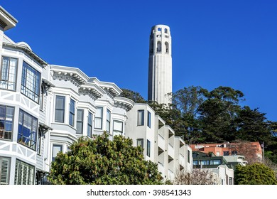 The Coit Tower photographed from a residential area of Telegraph Hill, in North Beach area of San Francisco, California, USA.