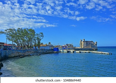 COJIMAR, EASTERN HAVANA, CUBA - FEBRUARY 26, 2018 - View on Cojimar bay with Castillo de Cojimar, in the fishing village east of Havana, inspiration for Ernest Hemingway's The Old Man and the Sea