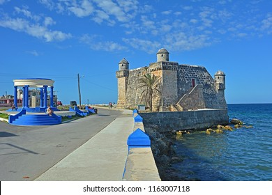 COJIMAR, EASTERN HAVANA, CUBA - FEBRUARY 26, 2018 - View on Cojimar bay with Castillo de Cojimar, in the fishing village east of Havana, with the Ernest Hemingway monument