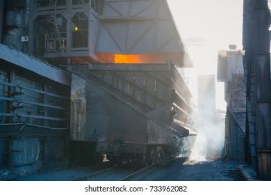 Coke furnace. Production of coke. Steel works. The heated coal. NLMK.