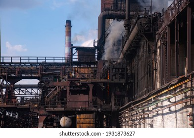 the coke pusher pushes the coke. Coke oven battery. coke and chemicals plant