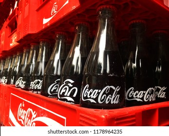 Coke Thailand in crate Plastic  famous beverage classic package vintage have coke write in thai language on 10 September 2018 Bangkok Thailand.