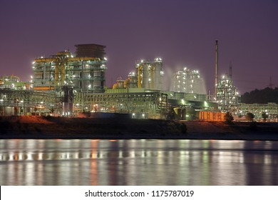 Coking plant Schwelgern in Duisburg, Germany. View over the river rhine. Some steam and lots of colorful details.