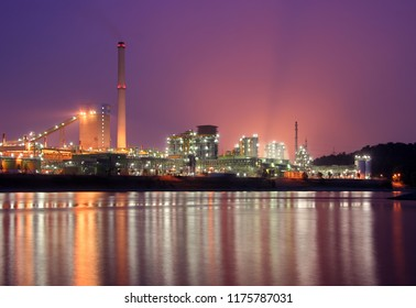 Coking plant Schwelgern in Duisburg, Germany. View over rhine river, blue hour and something being burned created a special light for this night shot.