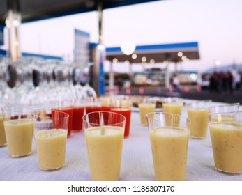 Coktails and drinks on white table. Party