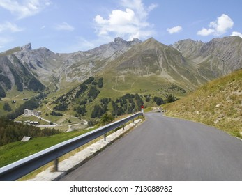 Col d'Allos, France: pass road and surrounding mountains