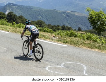 COL D'ASPIN,FRANCE - JUL 15: The Manx cyclist Mark Cavendish of Etixx-Quick Step Team, climbing the road to Col D'Aspin  in Pyrenees Mountains during the stage 11 of Le Tour de France on Juy 15, 2015.