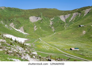Col de Cou mountain pass seen from the trail to Col de Bossetan (Barme, Champery, Switzerland). Col the Coux is a bird migratory route.