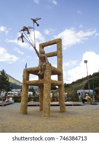 Col de Galibier, France - August 15, 2016: Straw puppets exposure