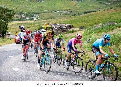 Col de Iseran, France - July 26, 2019: The Peloton climbing the road to Col de Iseran during the stage 19 of Le Tour de France 2019.