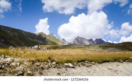 Col de la Bonette, France: pass road and surrounding mountains