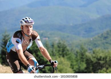 Col de la Lusette, France - 08 03 2020: Pierre Latour of the AG2R LA MONDIALE team in the ascent of the Col de la Lusette during the 2020 Tour de France cycling race.