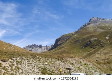 Col de Larche, France: panorama of the Alpine region