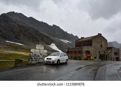 COL DE L'ISERAN, FRANCE - JULY 27, 2017 .Col de l'Iseran  mountain pass in France, the highest paved pass in the Alps,part of the Graian Alps, in the department of Savoie, near the border with Italy