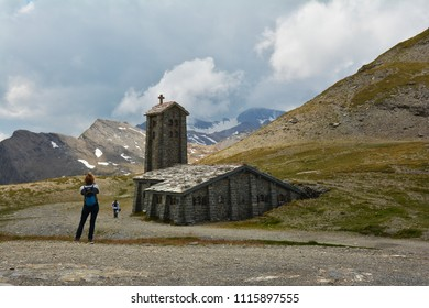 COL DE L'ISERAN, FRANCE - JULY 27, 2017 .Stone church at Col de l'Iseran  mountain pass in France, the highest paved pass in the Alps,part of the Graian Alps, in the department of Savoie.