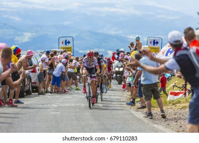 COL DE PEYRA TAILLADE, FRANCE - JUL 16: Bauke Mollema of Trek-Segafredo Team climbing the last kilometer to Col de Peyra Taillade, in the Central Massif, during the stage 15 of Le Tour de France 2017