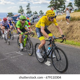 COL DE PEYRA TAILLADE, FRANCE - JUL 16: Froome in Yellow followed by Uran climbing the last kilometer to Col de Peyra Taillade, in the Central Massif, during the stage 15 of Le Tour de France 2017.