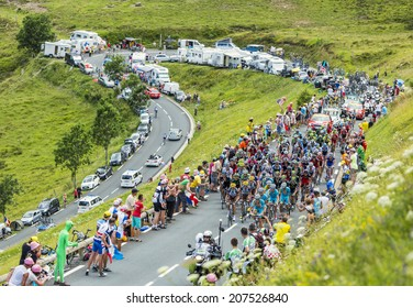 COL DE PEYRESOURDE,FRANCE-JUL 23:The peloton climbing the road to Col de Peyresourde in Pyrenees Mountains during the stage 17 of  Le Tour de France on 23 July 2014.